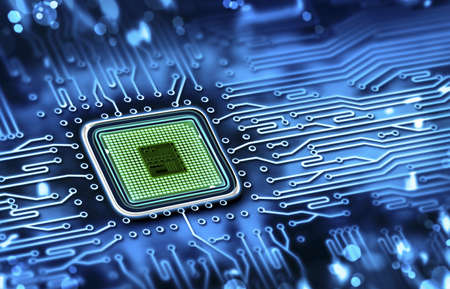microprocessor: microchip integrated on motherboard