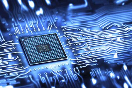 circuitboard: microchip integrato Archivio Fotografico
