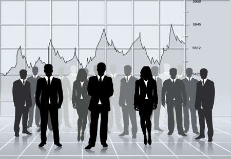 organization chart: business silhouettes team successful, global economy stats