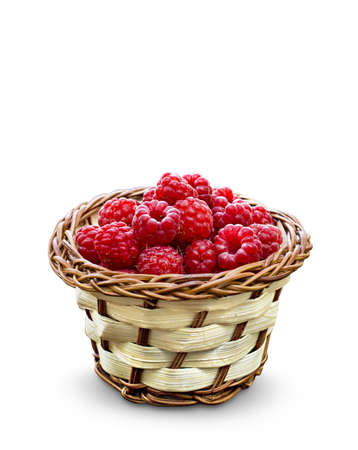 isolated basket with raspberry photo
