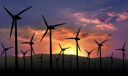 eolian: eolian farm against sunset, renewable energy