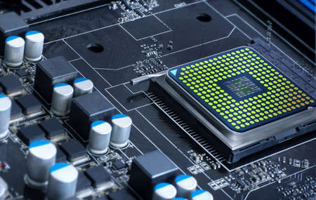 microprocessor: motherboard with microprocessor, futuristic microchip Stock Photo
