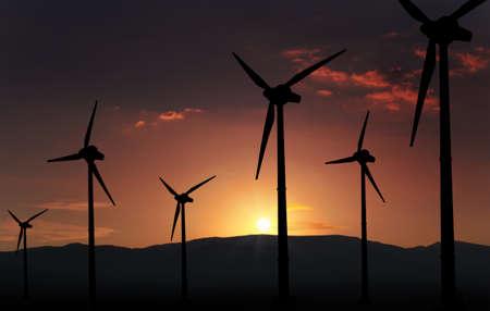 eolian turbine farm,wind turbine 写真素材