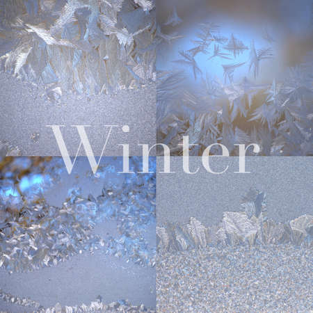 Square collage of four winter frost photos photo