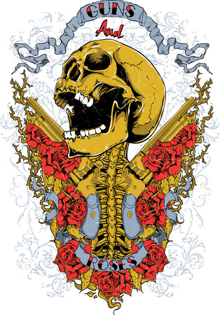Screaming skull and beautiful roses illustration