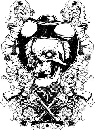 Sheriff skull and his weapons image illustration