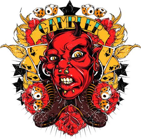 Gambler devil Illustration
