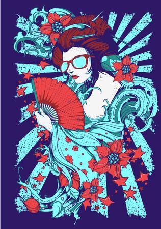Glamour geisha image illustration