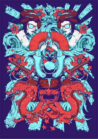 Geisha and dragons image illustration
