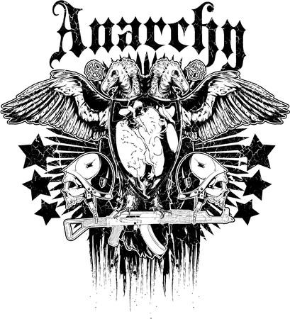 Angel of fallen soldier over a military gun logo 일러스트