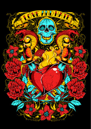 Love and hate .Skull and heart over red roses. For t-shirt design Çizim