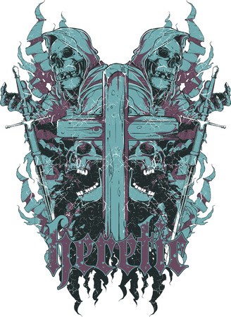 Reflection of death over captive demon. For t-shirt design