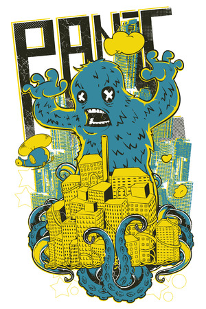 Panic monster over buildings icon.