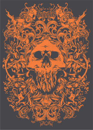 Orange skull with decorative style icon.