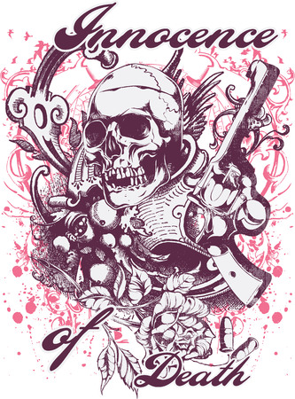 Innocence of death text with skull and gun illustration. Çizim