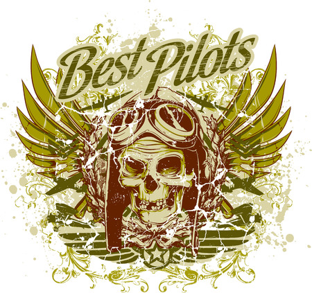 Best pilots with skull and wings illustration.