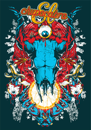 Horned skull over holy star in hands of God. T-shirt design vector illustration