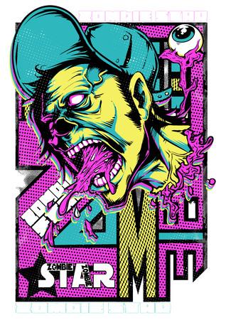 Zombie superstar screaming vector illustration. For t-shirt design purposes
