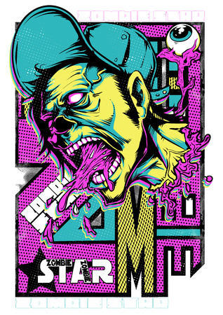 Zombie superstar screaming vector illustration. For t-shirt design purposes