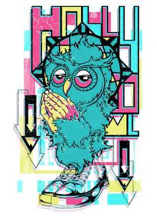 Owl prayer for love vector illustration. For t-shirt design purposes