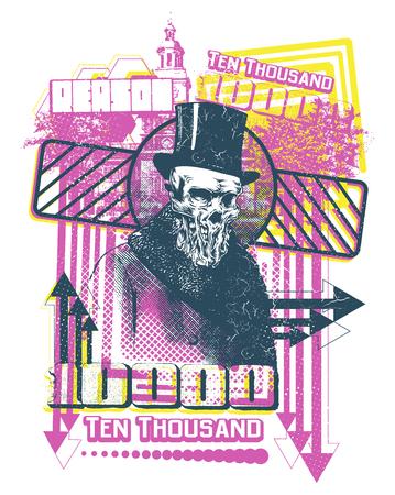 Ten thousand bill vector illustration. For t-shirt design purposes