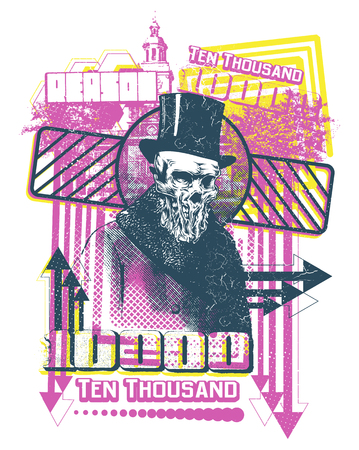 Ten thousand bill vector illustration. For t-shirt design purposes