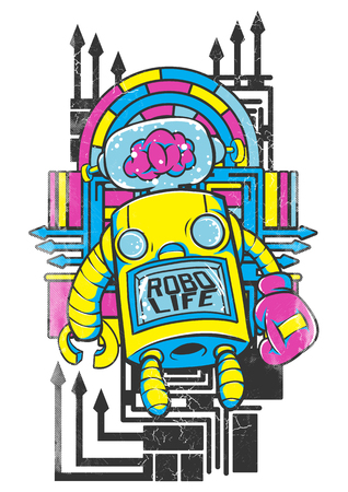 Robo life without brain concept vector illustration for t-shirt design