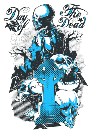 Tombstone and skeleton illustration - day of the dead