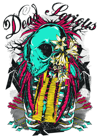 Dead serious with skull and arrows Illustration