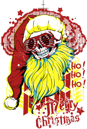 Merry Christmas poster with a skull wearing a red hat