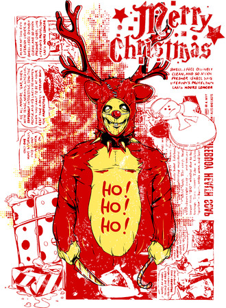 Merry Christmas poster with a figure holding a knife