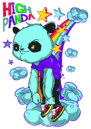 Rainbow panda illustration. Çizim