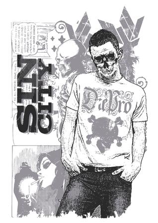 Posing skeleton  イラスト・ベクター素材