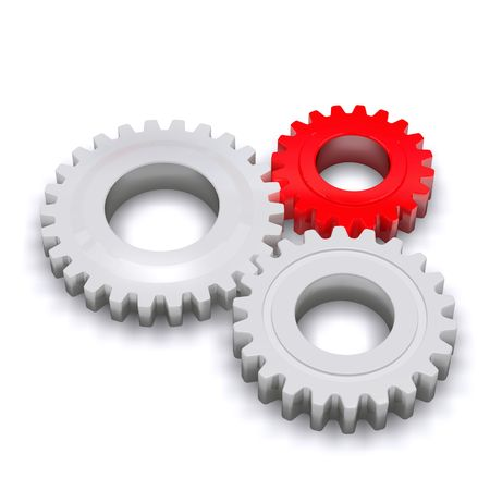 business gears: Three plastic gears, one red and two white. Stock Photo