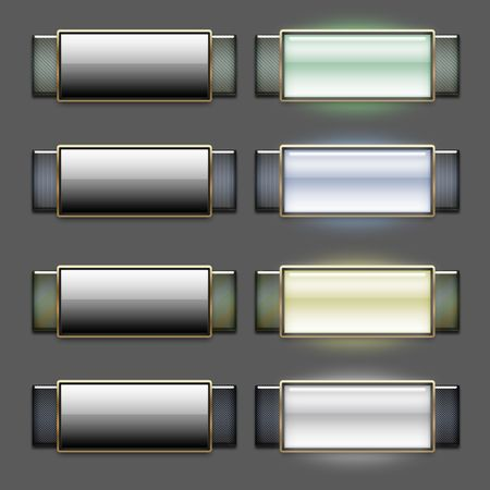 Cool sleek glossy web 2.0 roll-over button set photo