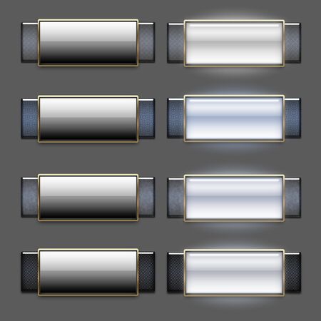 rollover: Cool sleek glossy web 2.0 roll-over button set Stock Photo