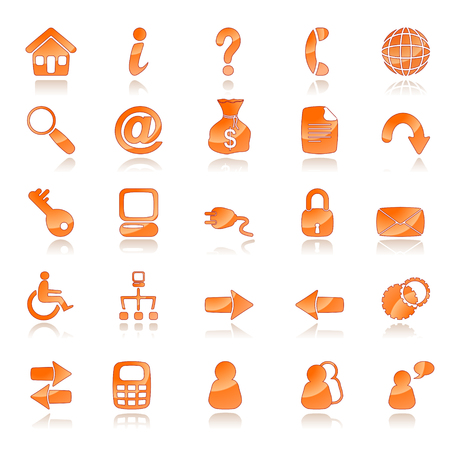 about us: A set of 25 common web icons Illustration