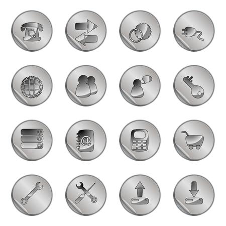 16 gray web icons set Stock Vector - 6366754