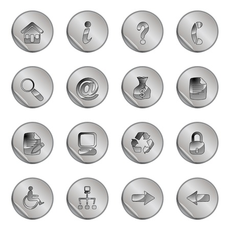 16 gray web icons set Stock Vector - 6366755