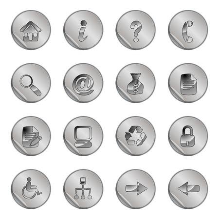 16 gray web icons set Stock Vector - 6366755