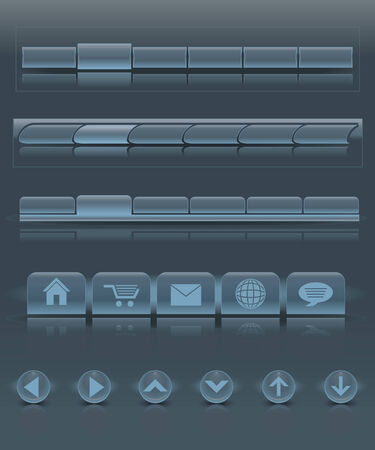 A set of glass menu bars and buttons Vector