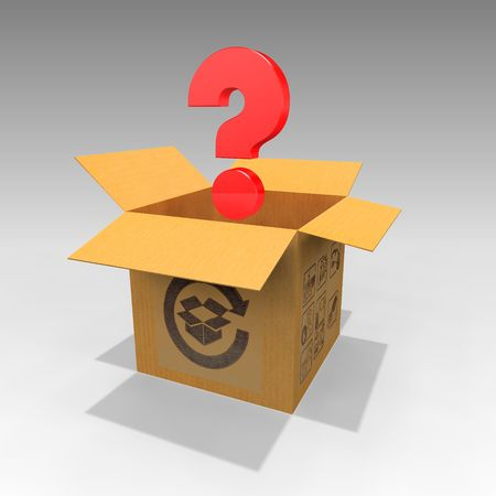 A red question mark emerging out of a cardboard box Stock Photo - 6626778