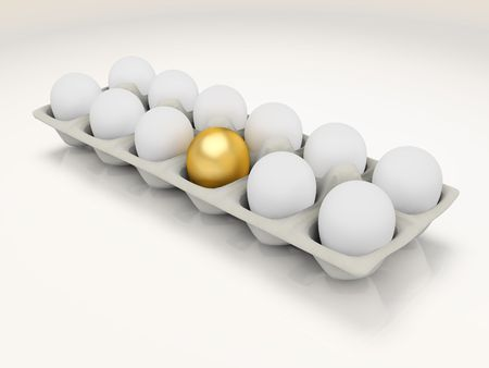 distinctive: One golden egg in a carton of ordinary eggs