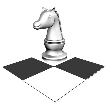 outwit: A knight, made of silver, resting on a chessboard