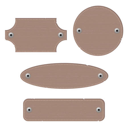 rivets: Leather labels with rivets. Different shapes