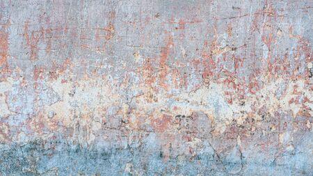 Fondo de textura abstracta creativa. Hermoso grunge turquesa, naranja y gris áspero artístico antiguo muro de piedra con grietas y arañazos. Copia espacio