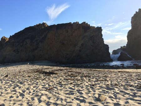 big sur: Pfeiffer Beach in Big Sur CA and huge rock