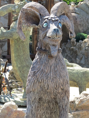Goat wooden sculpture Reklamní fotografie