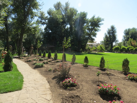 early flowerbeds in the public park