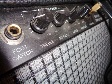 amplifier: Vintage Guitar Amplifier Knobs perspective Stock Photo